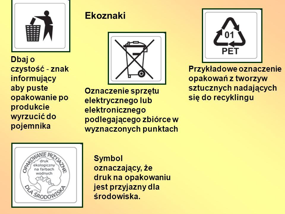 Ekoznaki Dbaj o czystość - znak informujący aby puste opakowanie po produkcie wyrzucić do pojemnika.