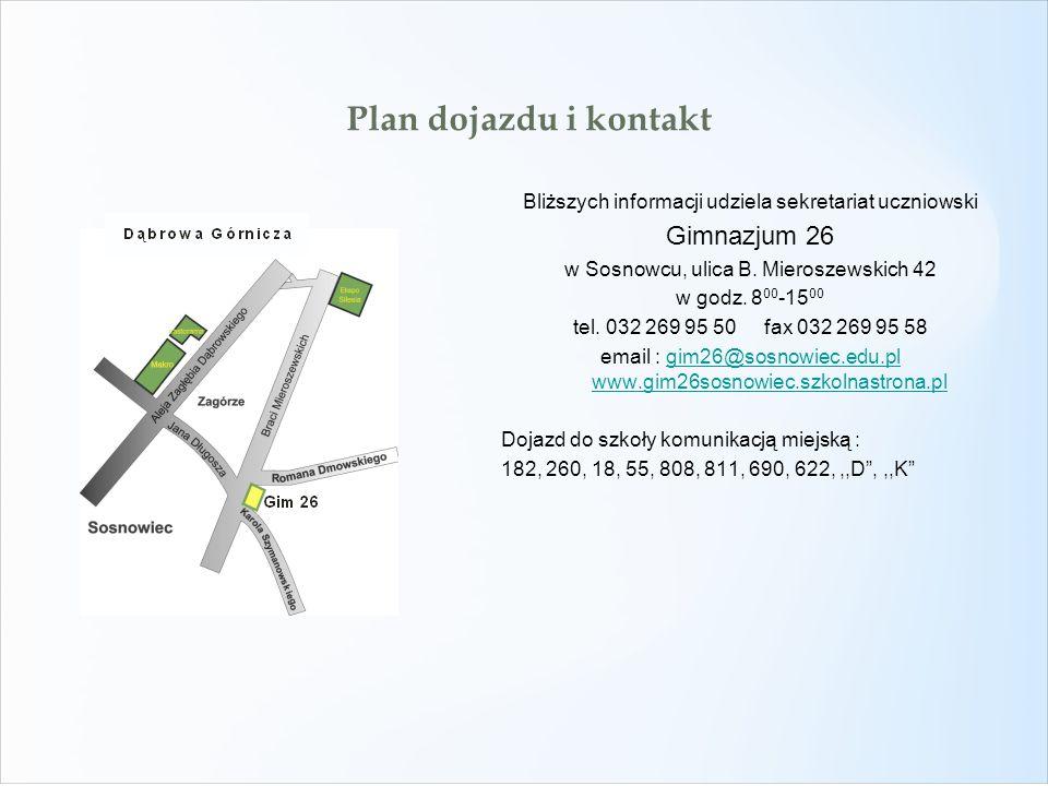 Plan dojazdu i kontakt Gimnazjum 26