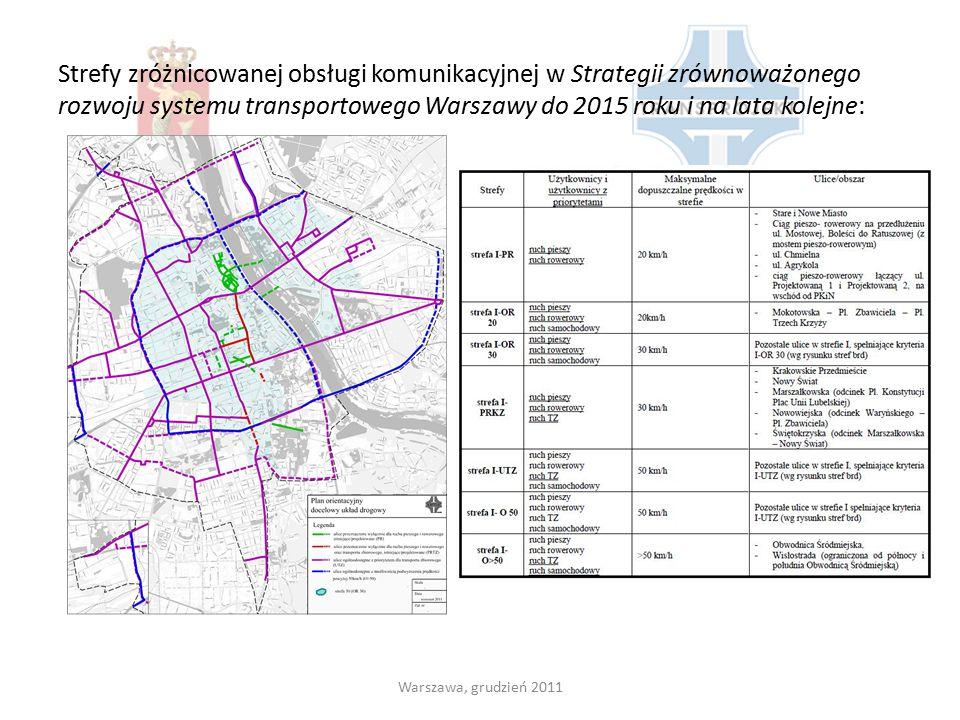 Strefy zróżnicowanej obsługi komunikacyjnej w Strategii zrównoważonego rozwoju systemu transportowego Warszawy do 2015 roku i na lata kolejne: