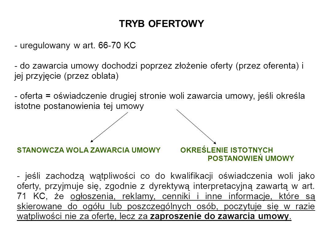 TRYB OFERTOWY - uregulowany w art. 66-70 KC