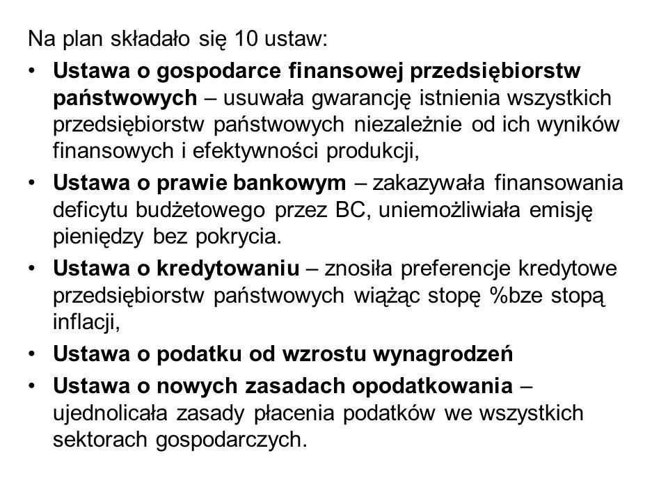Na plan składało się 10 ustaw: