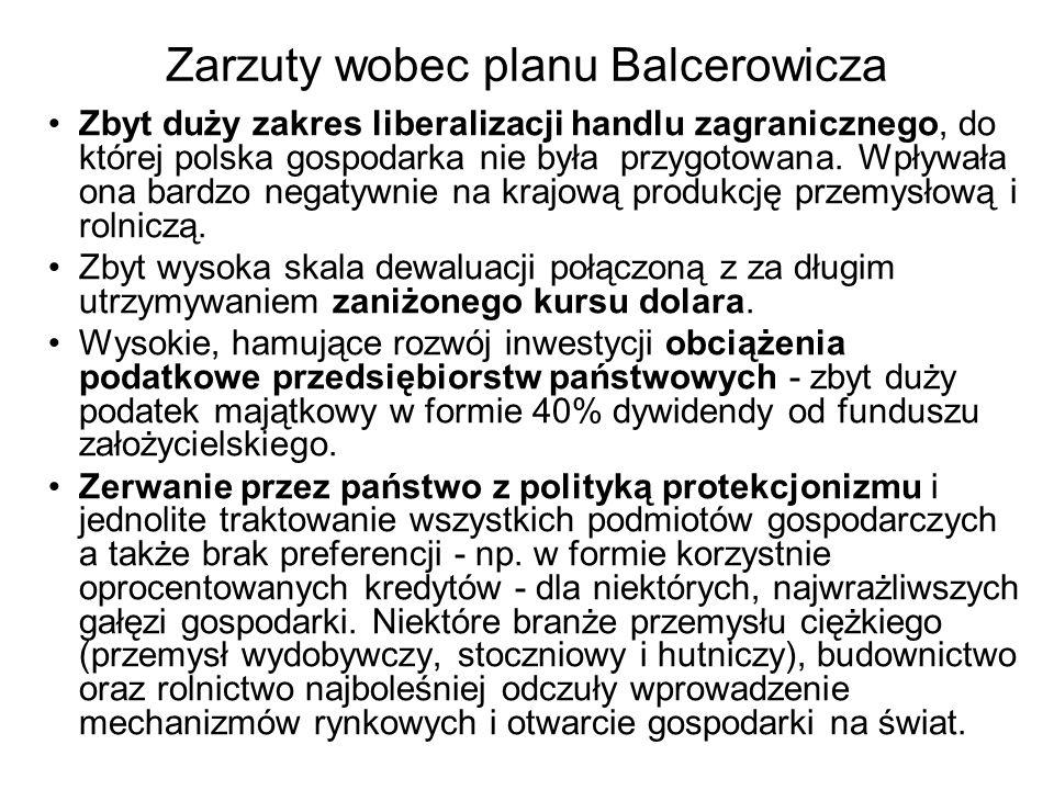 Zarzuty wobec planu Balcerowicza