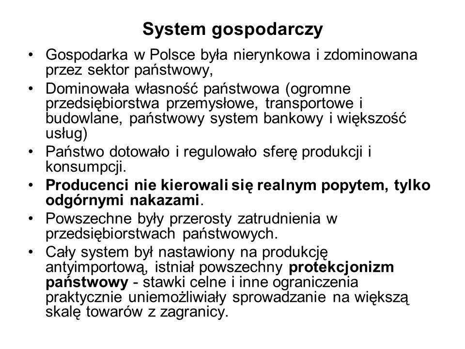System gospodarczy Gospodarka w Polsce była nierynkowa i zdominowana przez sektor państwowy,