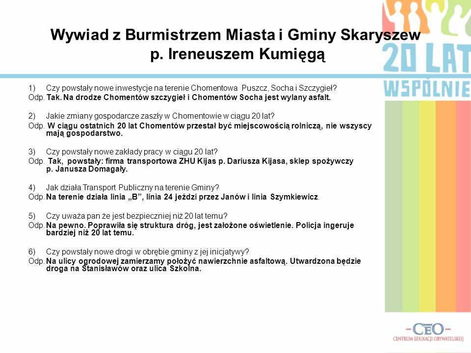Wywiad z Burmistrzem Miasta i Gminy Skaryszew p. Ireneuszem Kumięgą