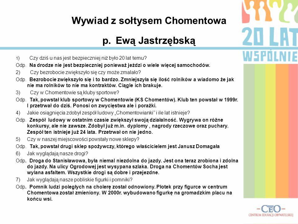 Wywiad z sołtysem Chomentowa p. Ewą Jastrzębską