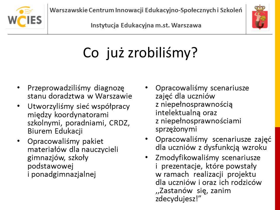 Co już zrobiliśmy Przeprowadziliśmy diagnozę stanu doradztwa w Warszawie.