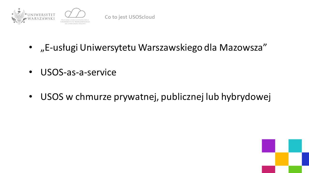 """""""E-usługi Uniwersytetu Warszawskiego dla Mazowsza USOS-as-a-service"""