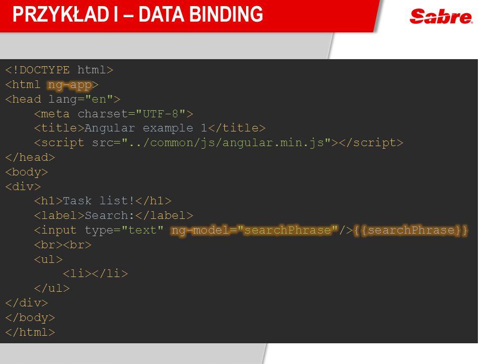 Przykład I – Data Binding