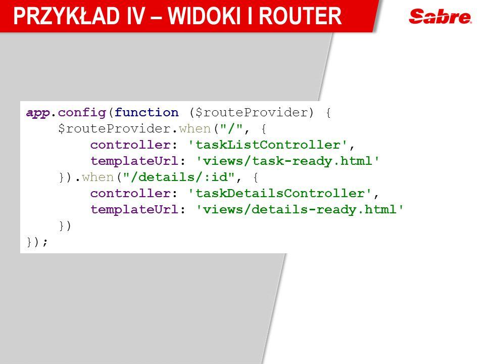 Przykład IV – Widoki i router