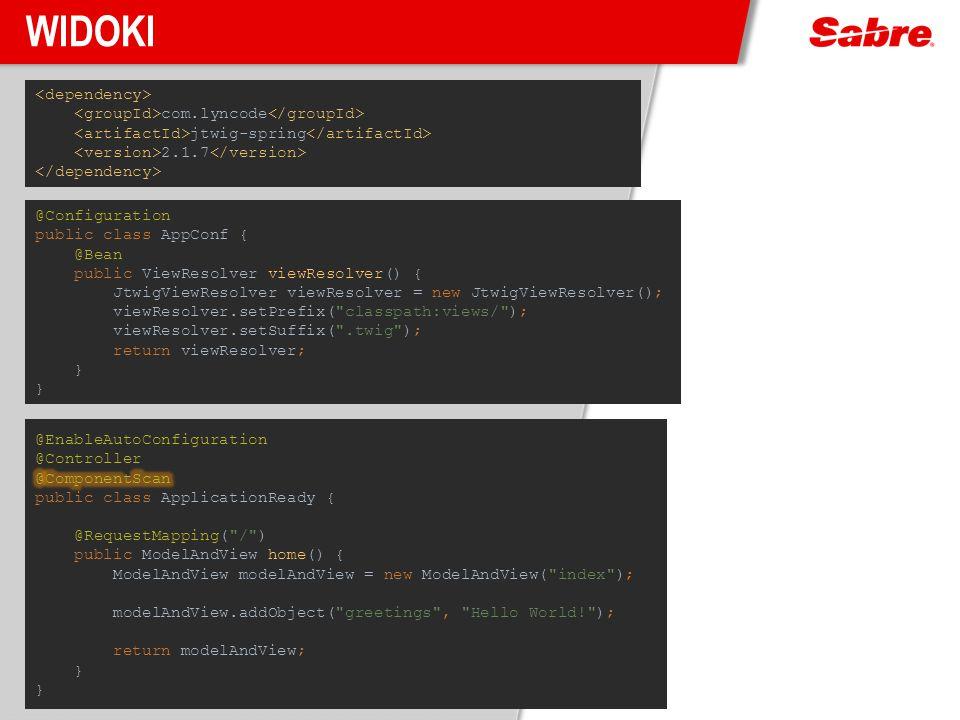 Widoki <dependency> <groupId>com.lyncode</groupId> <artifactId>jtwig-spring</artifactId> <version>2.1.7</version> </dependency>