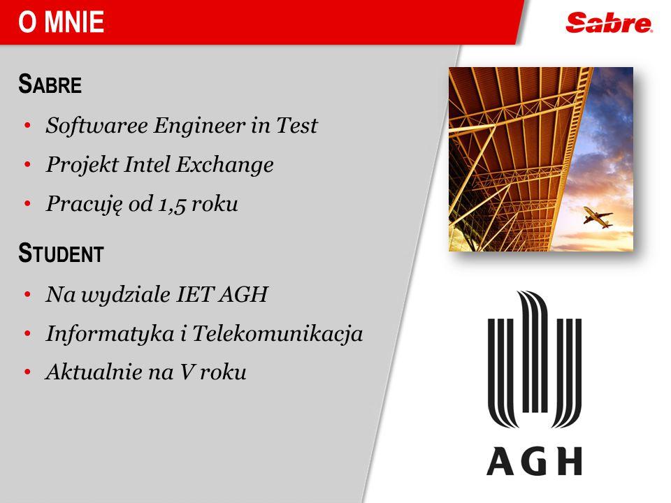 O mnie Sabre Student Softwaree Engineer in Test Projekt Intel Exchange