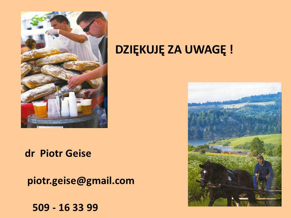 DZIĘKUJĘ ZA UWAGĘ ! dr Piotr Geise piotr.geise@gmail.com