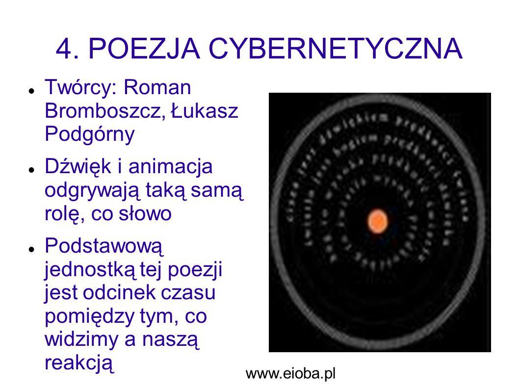 4. POEZJA CYBERNETYCZNA Twórcy: Roman Bromboszcz, Łukasz Podgórny