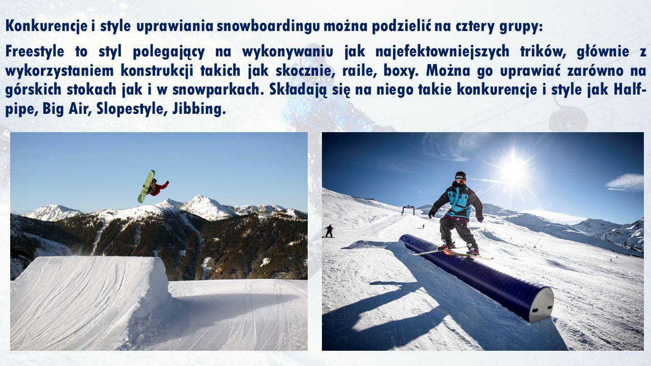 Konkurencje i style uprawiania snowboardingu można podzielić na cztery grupy: