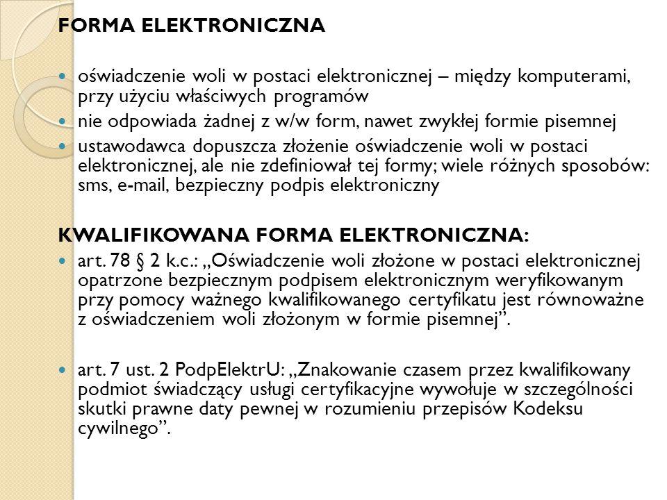 FORMA ELEKTRONICZNA oświadczenie woli w postaci elektronicznej – między komputerami, przy użyciu właściwych programów.