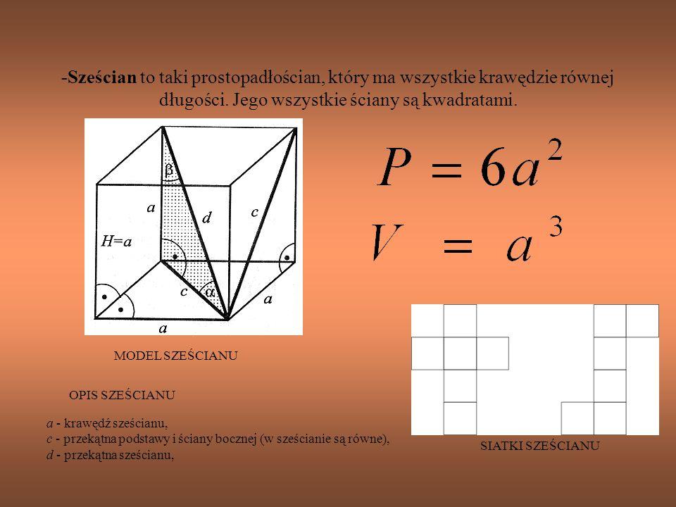 -Sześcian to taki prostopadłościan, który ma wszystkie krawędzie równej długości. Jego wszystkie ściany są kwadratami.