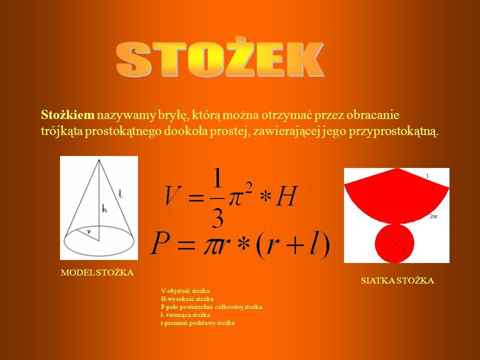 STOŻEK Stożkiem nazywamy bryłę, którą można otrzymać przez obracanie trójkąta prostokątnego dookoła prostej, zawierającej jego przyprostokątną.