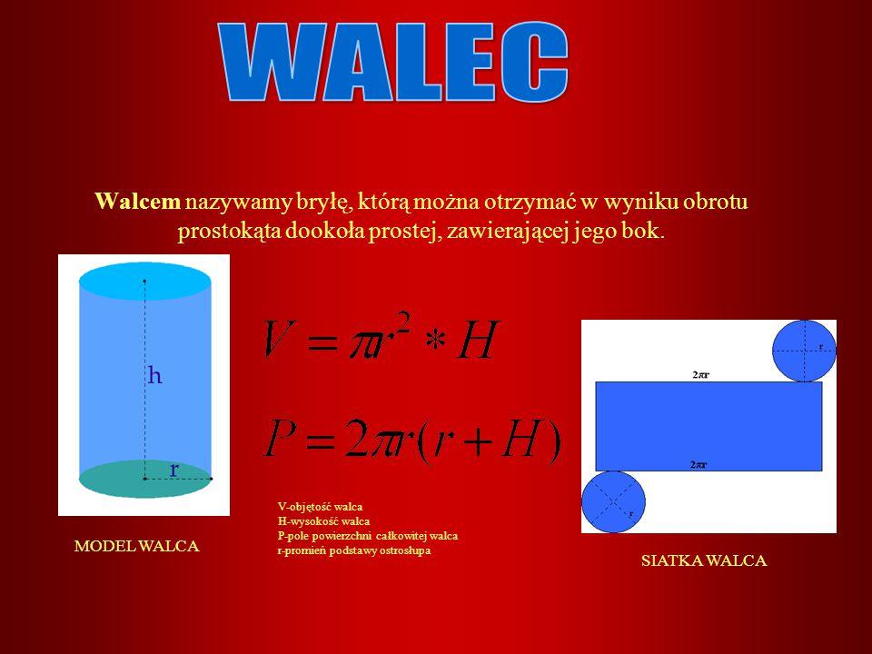WALEC Walcem nazywamy bryłę, którą można otrzymać w wyniku obrotu prostokąta dookoła prostej, zawierającej jego bok.