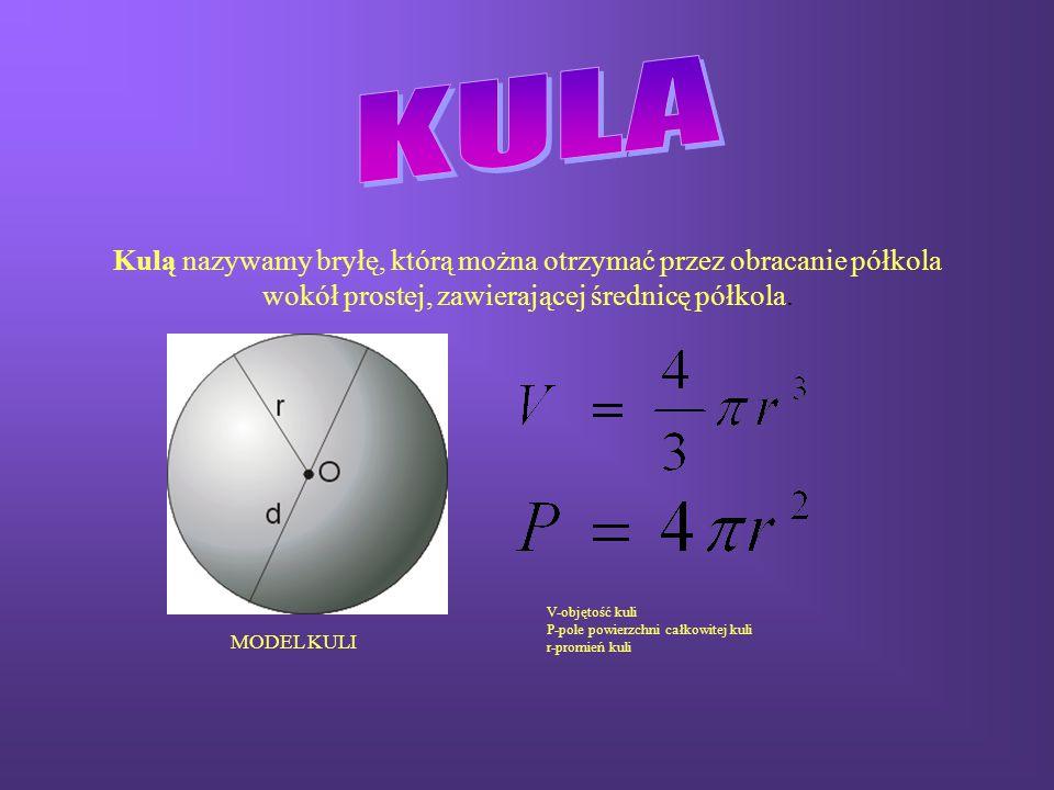 KULA Kulą nazywamy bryłę, którą można otrzymać przez obracanie półkola wokół prostej, zawierającej średnicę półkola.