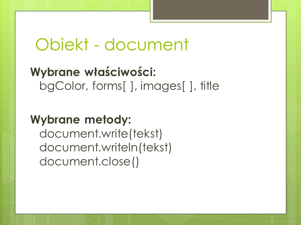 Obiekt - document