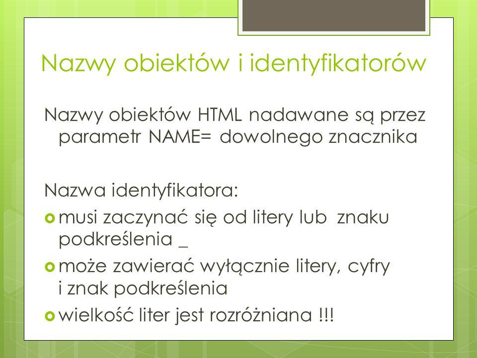 Nazwy obiektów i identyfikatorów
