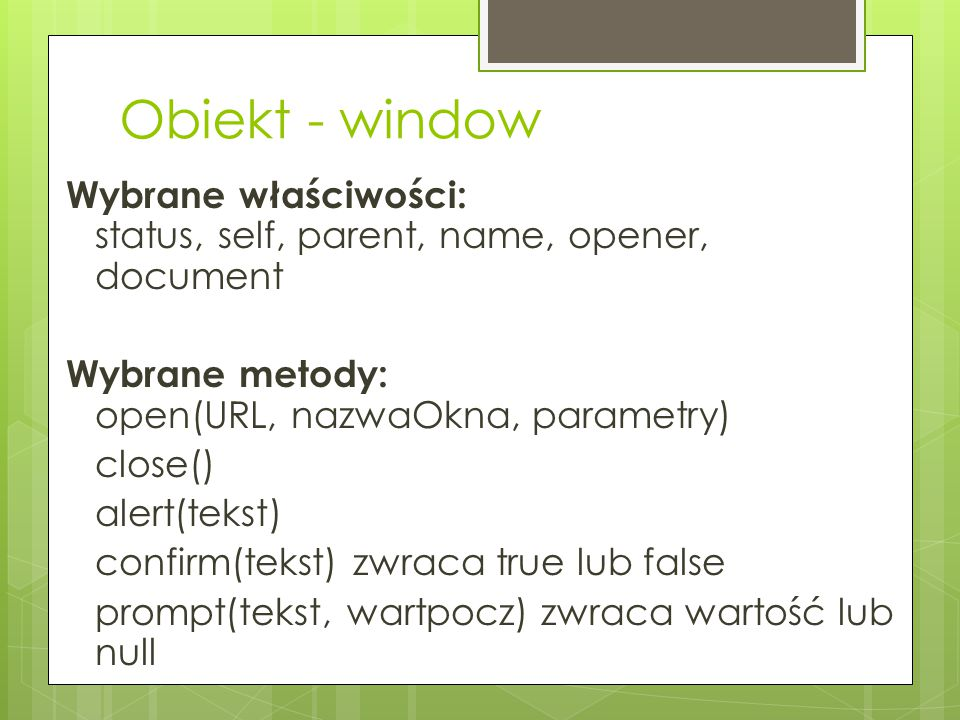 Obiekt - window