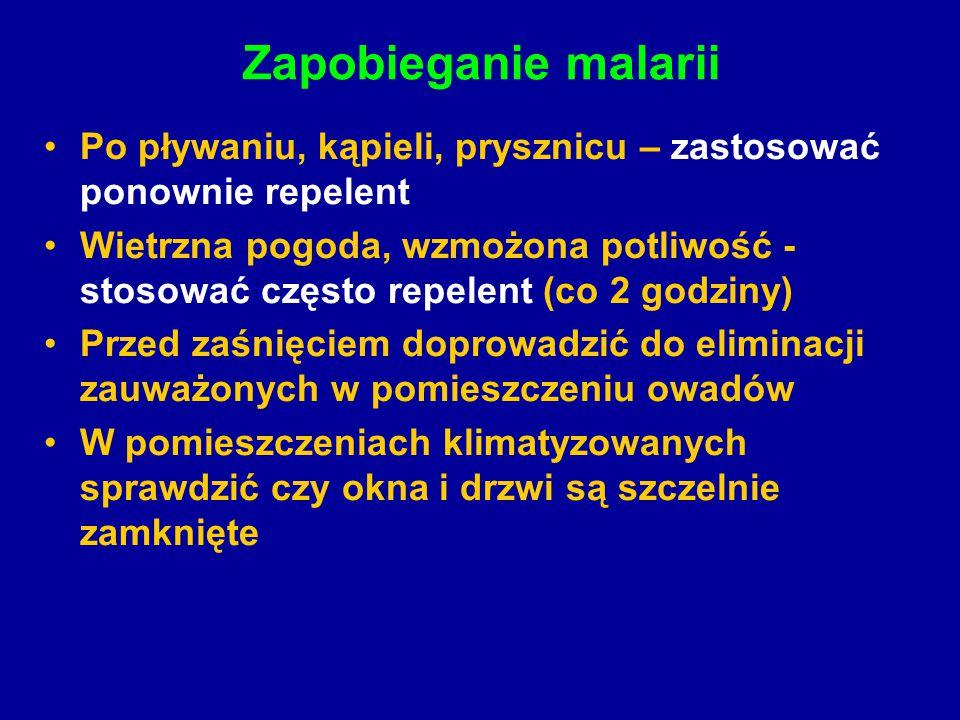 Zapobieganie malarii Po pływaniu, kąpieli, prysznicu – zastosować ponownie repelent.