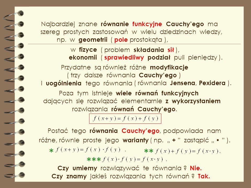 * ** *** Najbardziej znane równanie funkcyjne Cauchy'ego ma