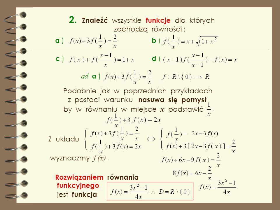 2. Znaleźć wszystkie funkcje dla których