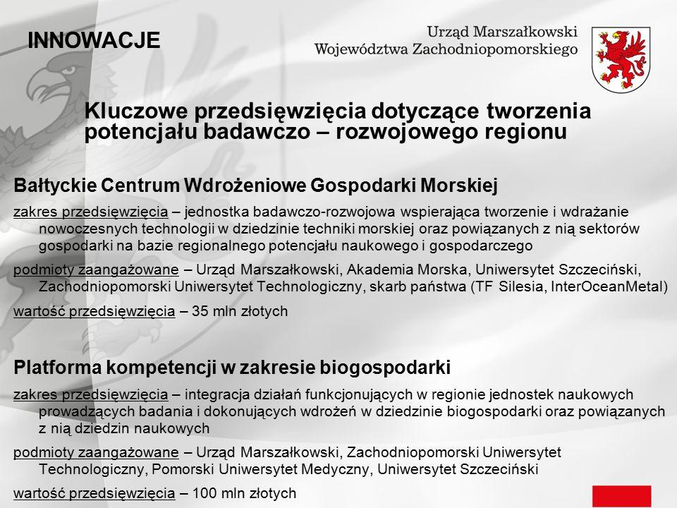 INNOWACJE Kluczowe przedsięwzięcia dotyczące tworzenia potencjału badawczo – rozwojowego regionu. Bałtyckie Centrum Wdrożeniowe Gospodarki Morskiej.