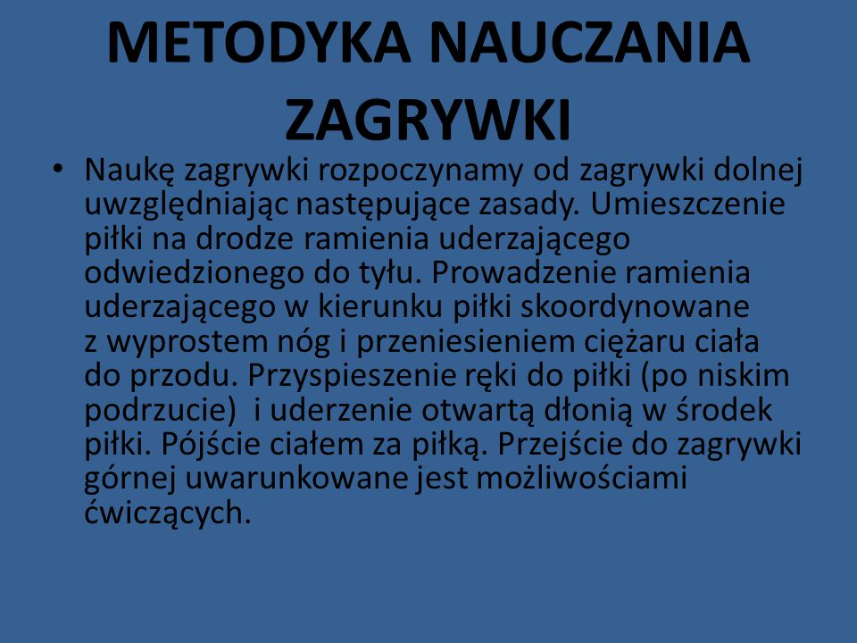 METODYKA NAUCZANIA ZAGRYWKI