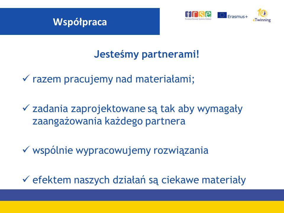 Współpraca Jesteśmy partnerami! razem pracujemy nad materiałami;