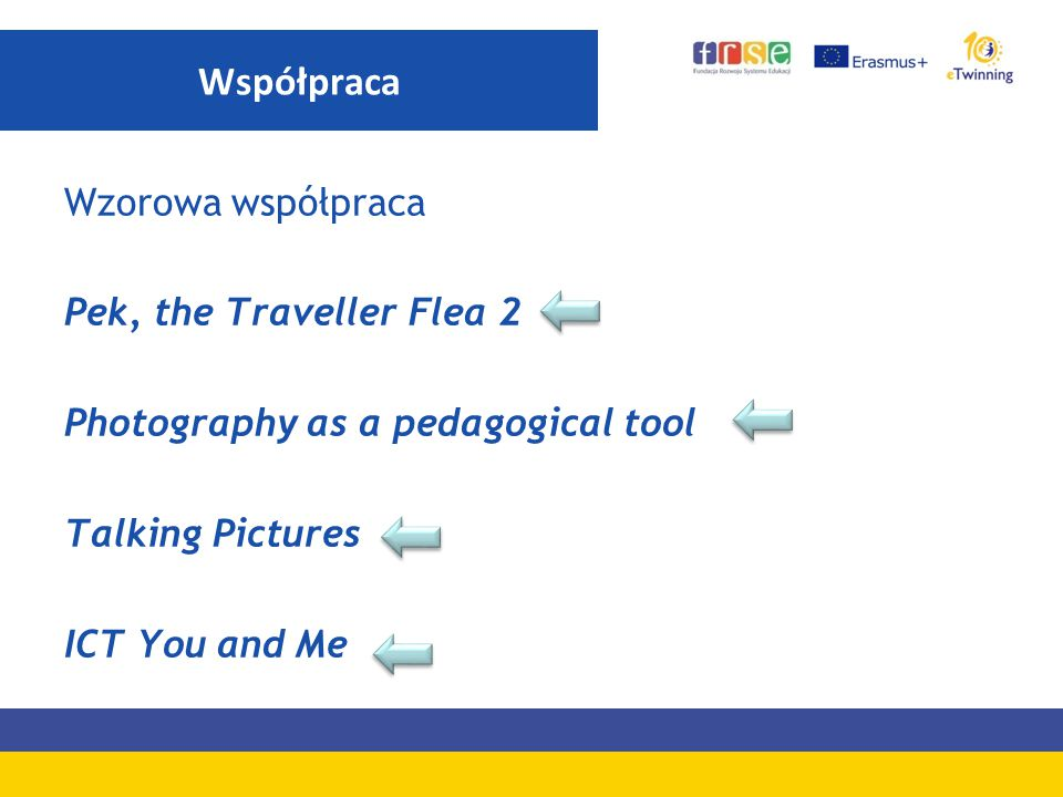 Współpraca Wzorowa współpraca Pek, the Traveller Flea 2 Photography as a pedagogical tool Talking Pictures ICT You and Me