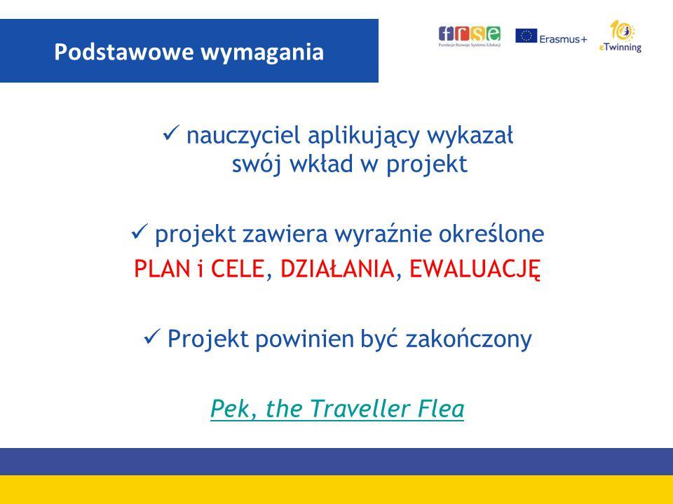 Podstawowe wymagania nauczyciel aplikujący wykazał swój wkład w projekt. projekt zawiera wyraźnie określone.