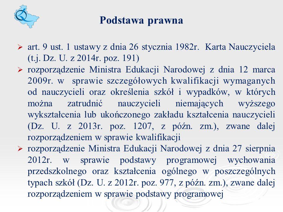 Podstawa prawna art. 9 ust. 1 ustawy z dnia 26 stycznia 1982r. Karta Nauczyciela (t.j. Dz. U. z 2014r. poz. 191)