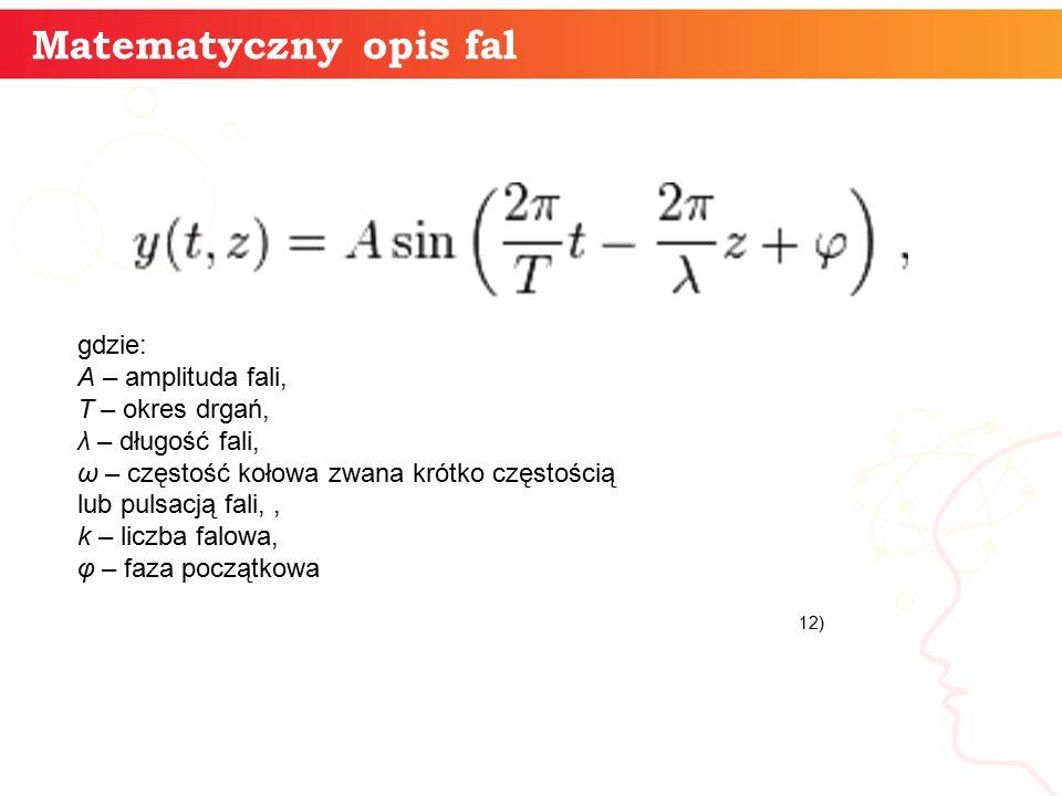 Matematyczny opis fal gdzie: A – amplituda fali, T – okres drgań,