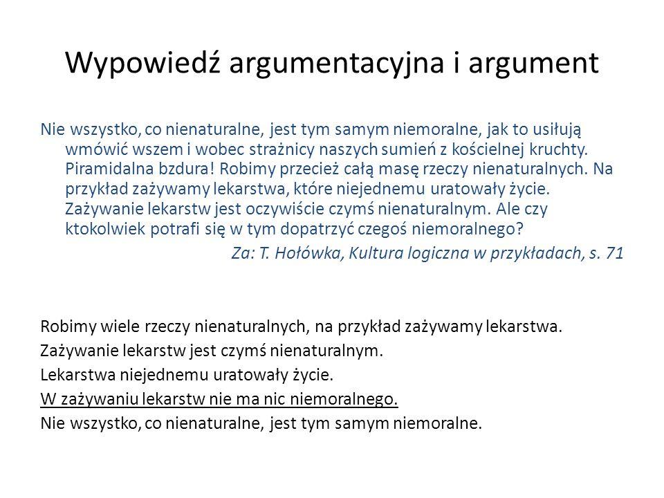 Wypowiedź argumentacyjna i argument