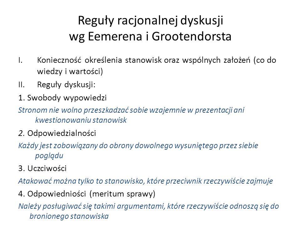 Reguły racjonalnej dyskusji wg Eemerena i Grootendorsta