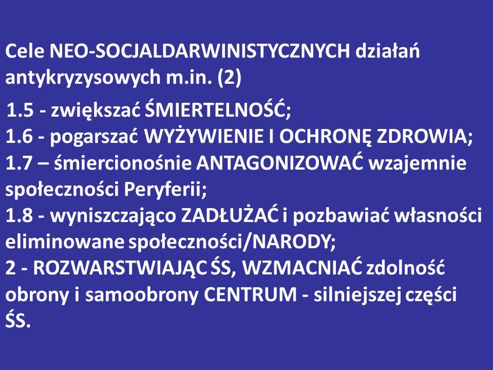 Cele NEO-SOCJALDARWINISTYCZNYCH działań antykryzysowych m. in. (2) 1