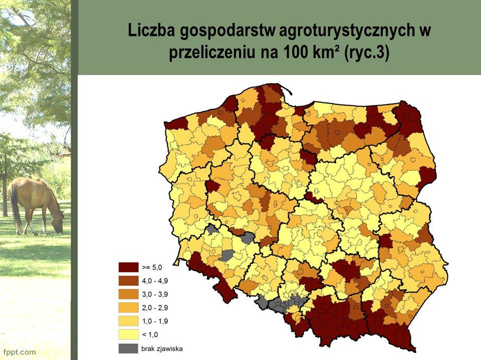 Liczba gospodarstw agroturystycznych w przeliczeniu na 100 km² (ryc.3)