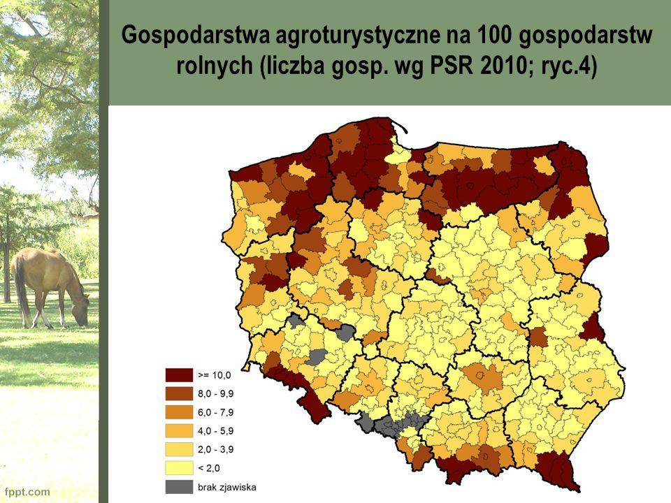 Gospodarstwa agroturystyczne na 100 gospodarstw rolnych (liczba gosp