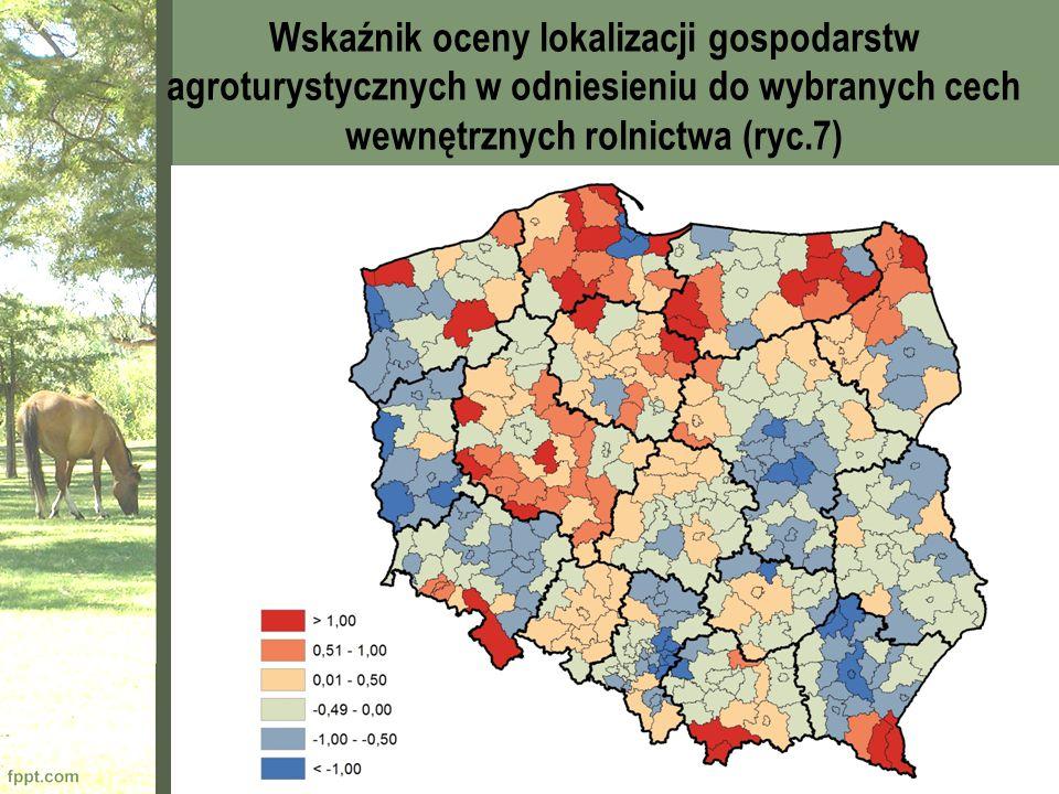 Wskaźnik oceny lokalizacji gospodarstw agroturystycznych w odniesieniu do wybranych cech wewnętrznych rolnictwa (ryc.7)