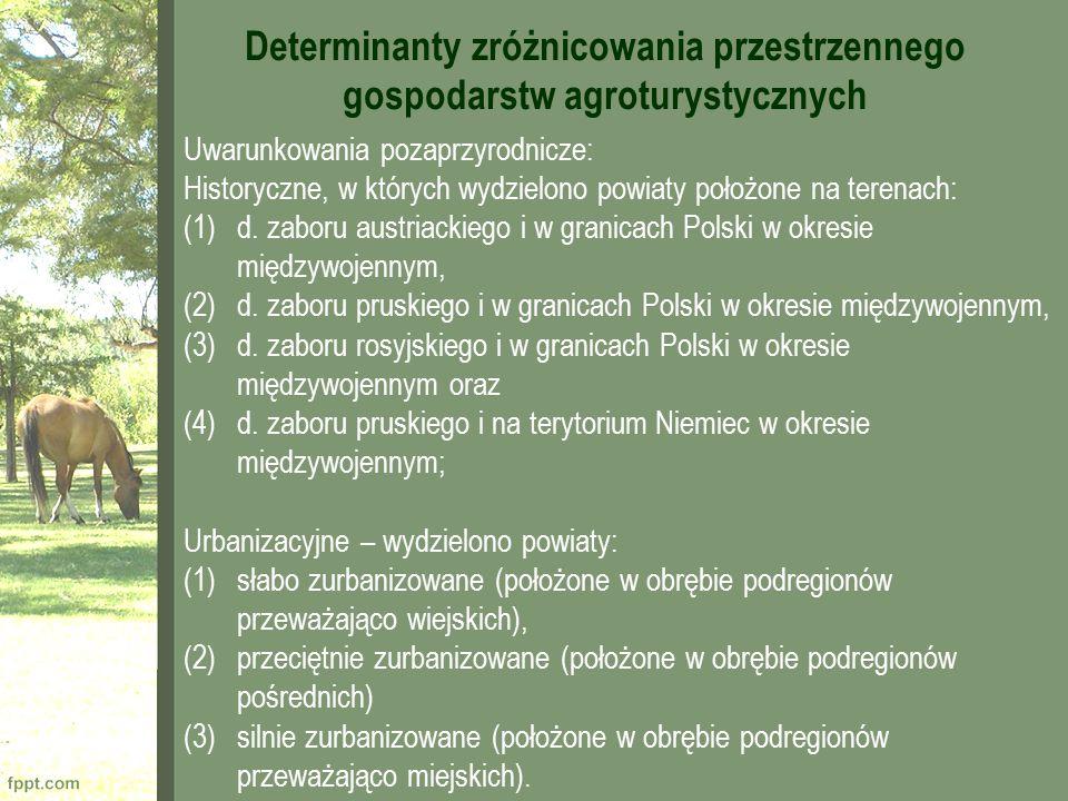 Determinanty zróżnicowania przestrzennego gospodarstw agroturystycznych