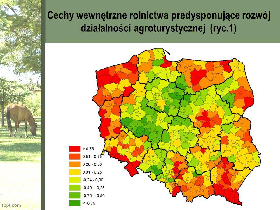 Cechy wewnętrzne rolnictwa predysponujące rozwój działalności agroturystycznej (ryc.1)