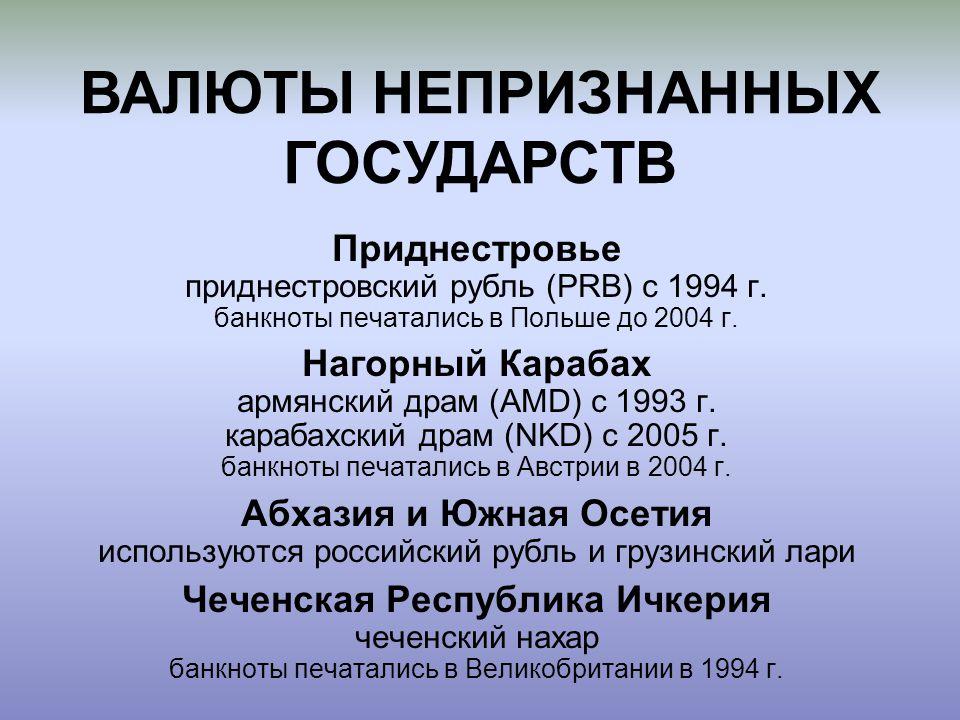 ВАЛЮТЫ НЕПРИЗНАННЫХ ГОСУДАРСТВ Чеченская Республика Ичкерия