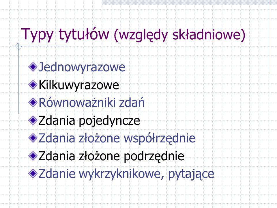 Typy tytułów (względy składniowe)