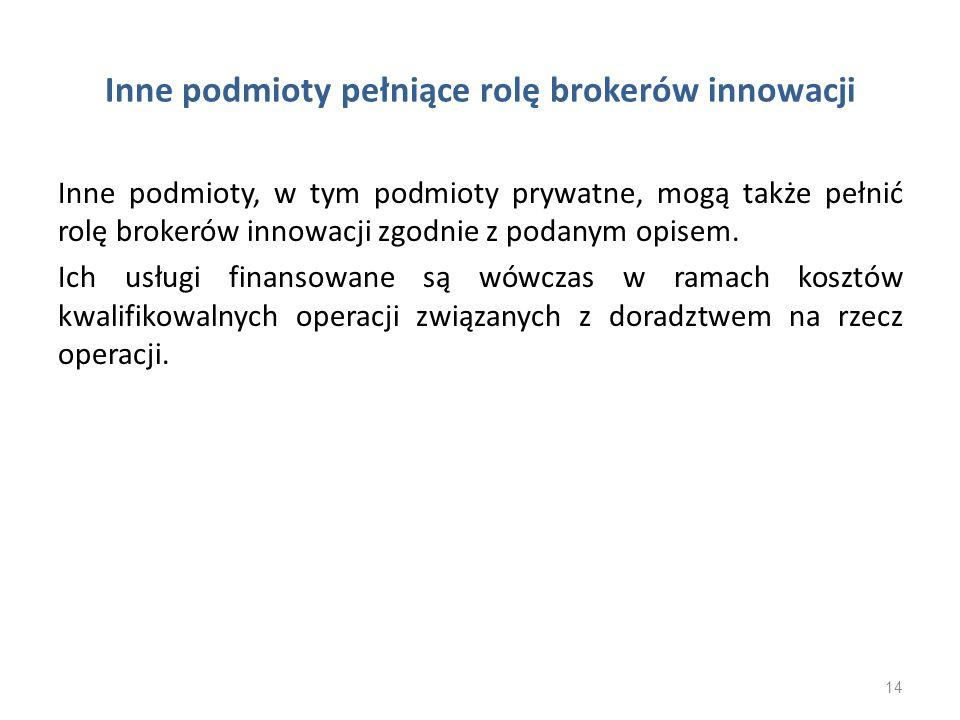 Inne podmioty pełniące rolę brokerów innowacji
