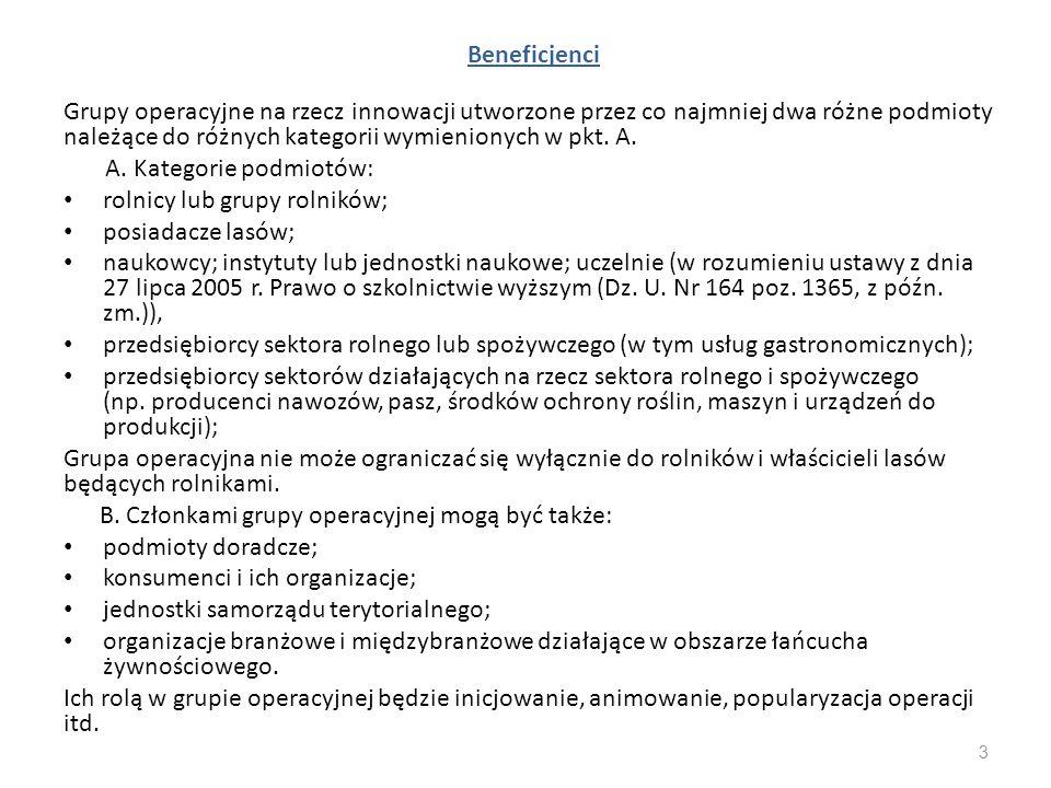 Beneficjenci Grupy operacyjne na rzecz innowacji utworzone przez co najmniej dwa różne podmioty należące do różnych kategorii wymienionych w pkt. A.