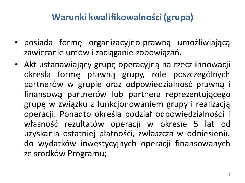 Warunki kwalifikowalności (grupa)