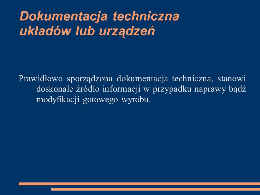 Dokumentacja techniczna układów lub urządzeń